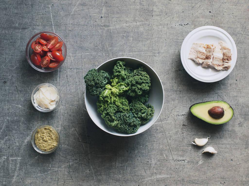 Grilled Salmon, Pesto, and Kale Salad