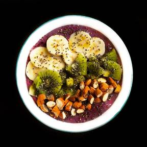 Colorful acai breakfast bowl