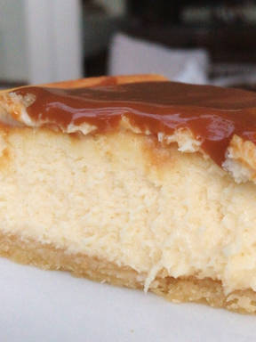 White Chocolate Cheesecake with Salted Caramel Sauce