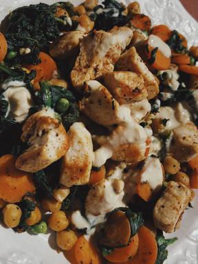 Grilled Chicken Chickpea Mix