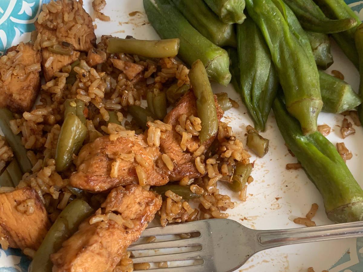 Lemon Chicken Stir Fry & Boiled Okra 😍