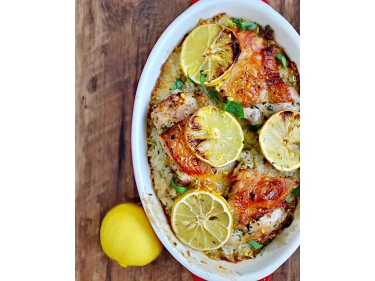 Lemon Crispy Chicken Baked Rice