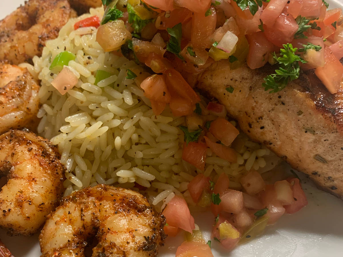 Blackened salmon and shrimp with pico de gallo salsa