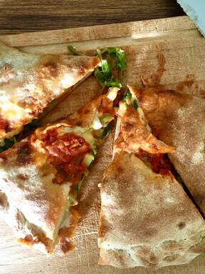 Spinach-Zucchini Calzone with Hot Tomato Sauce