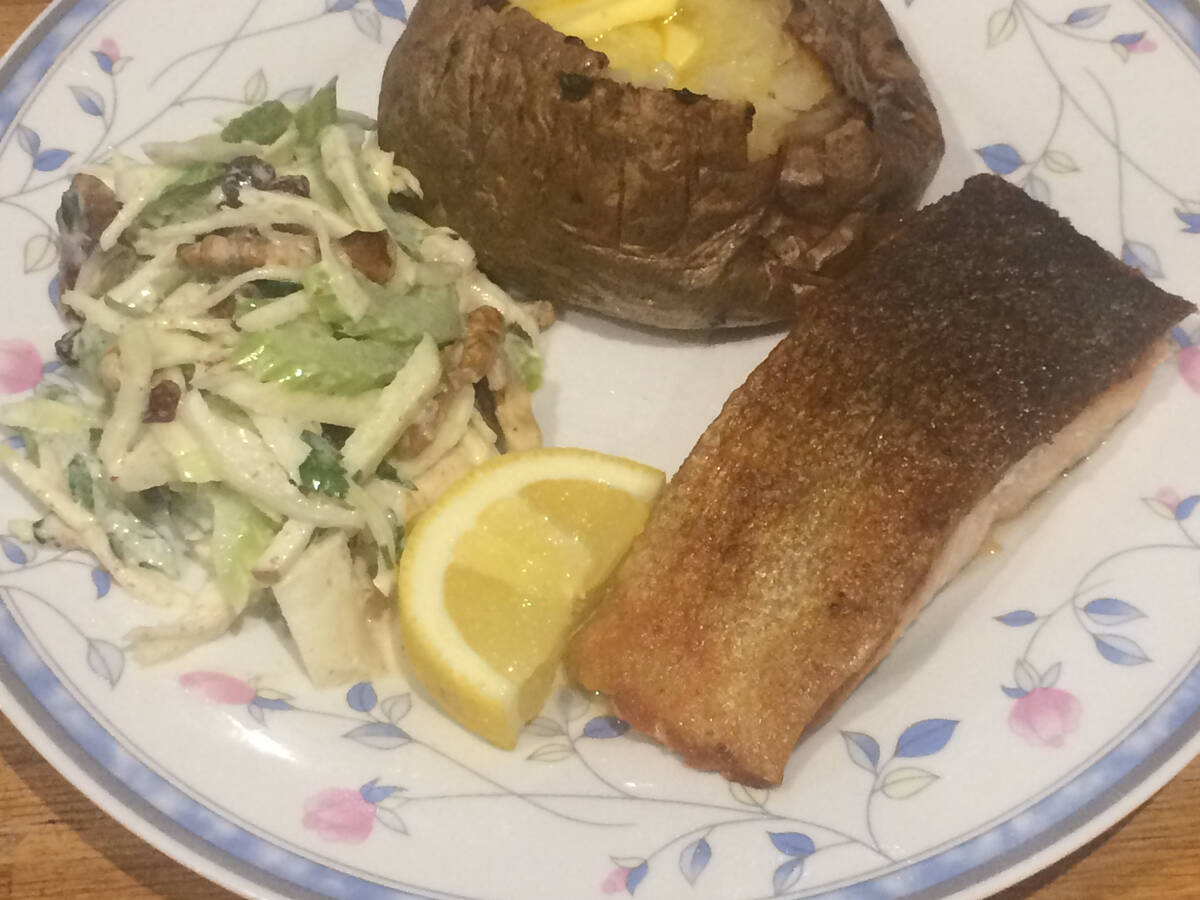 Quick-brined salmon, baked potato and waldorf slaw