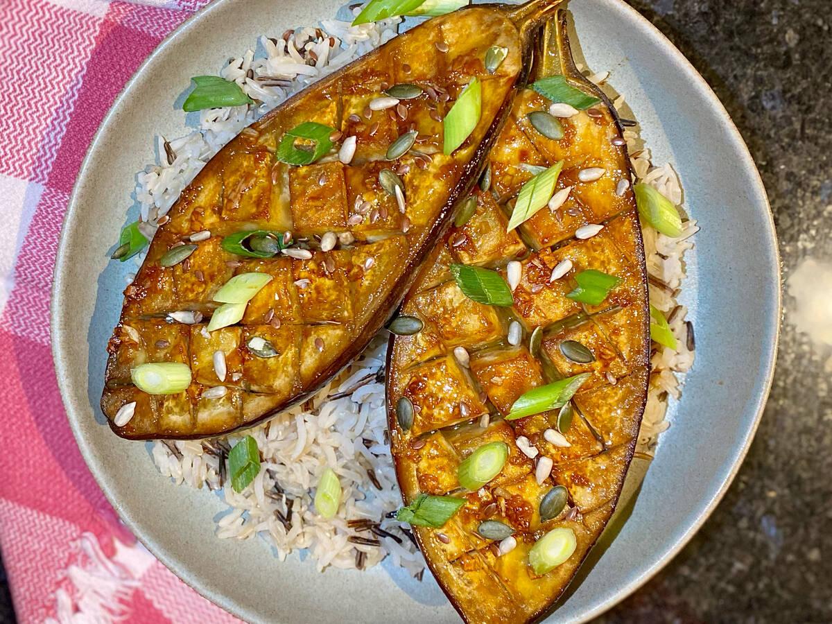 marmite glazed aubergine with wild rice