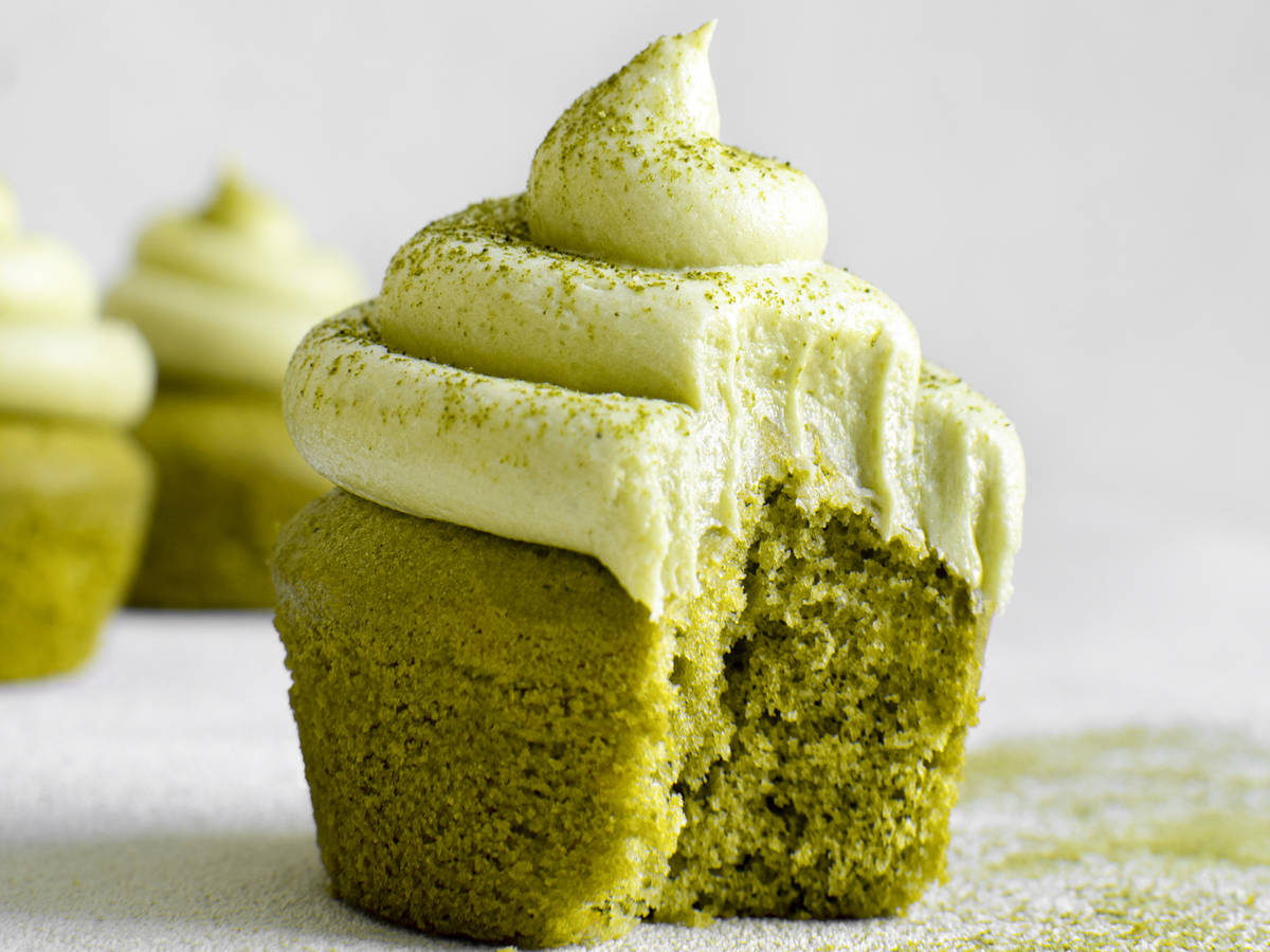 Matcha cupcakes with matcha buttercream