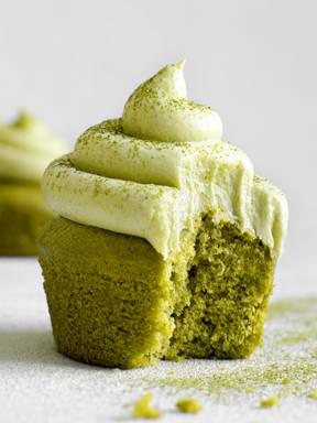 Matcha cupcakes with matcha buttercream