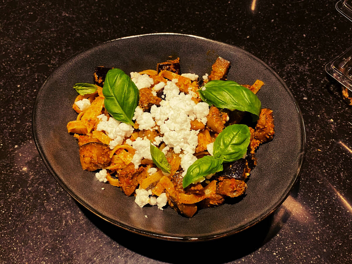 Tagliatelle with grilled eggplant and feta