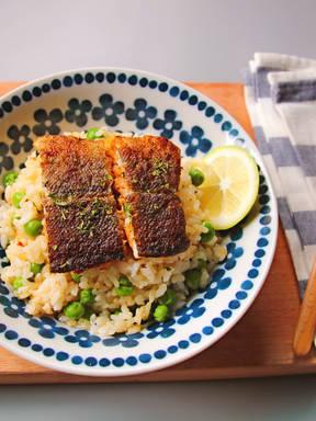煎鳕鱼&豌豆拌饭
