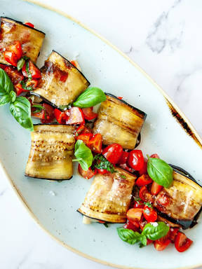 Grilled Aubergine Rolls with Soft Ripened Goats Cheese