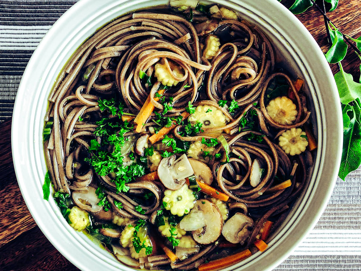 Chestnut Mushroom & Buckwheat Noodle Soup