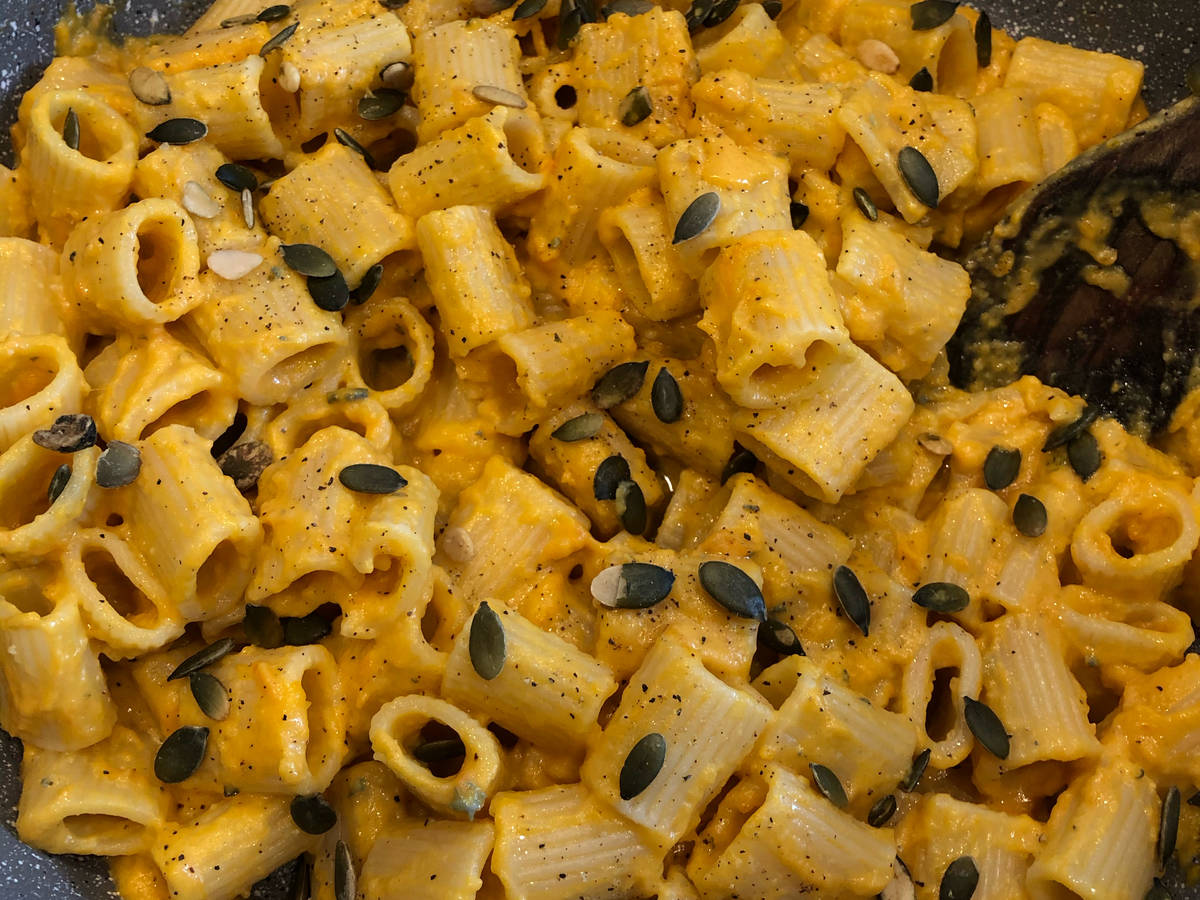 Pumpkin Blue Cheese Rigatoni (pasta)
