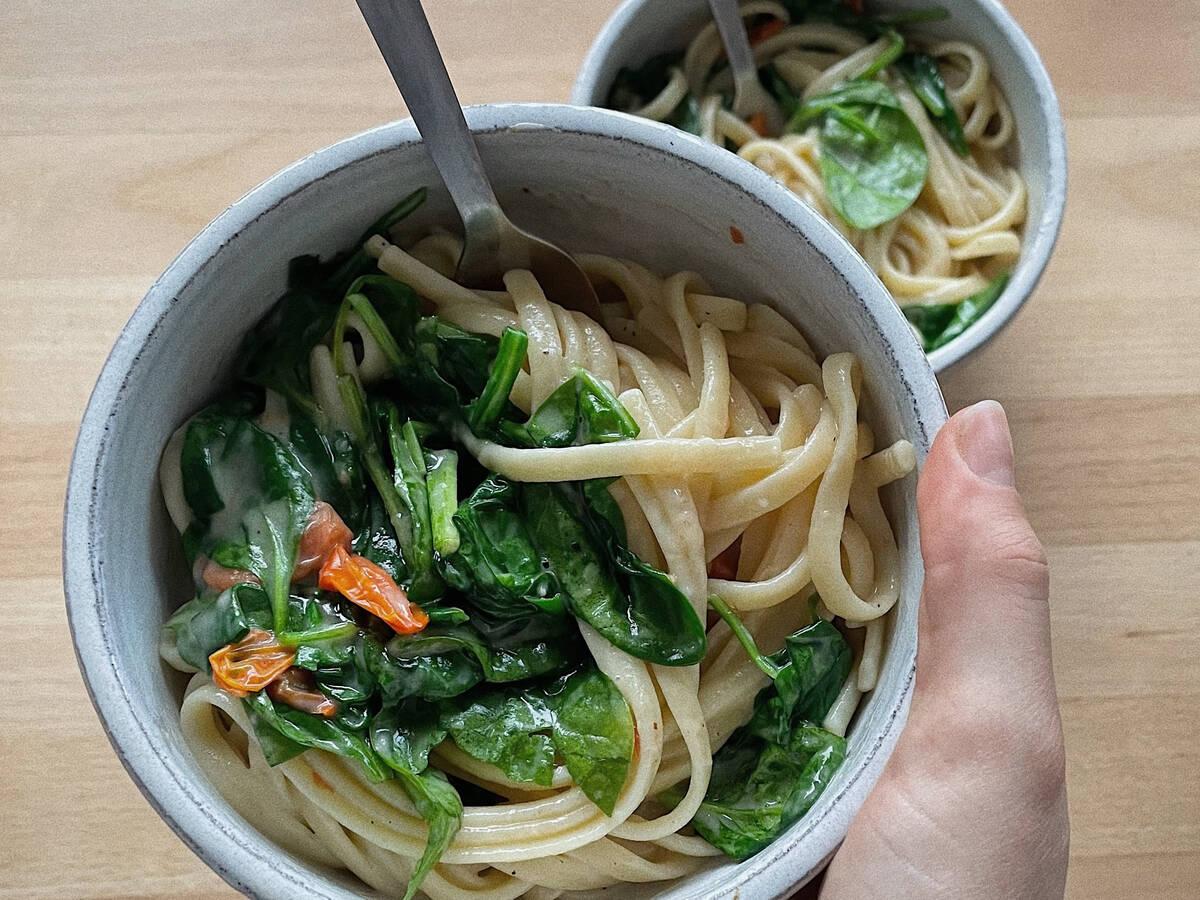 Cremige Spinat Pasta (vegan)