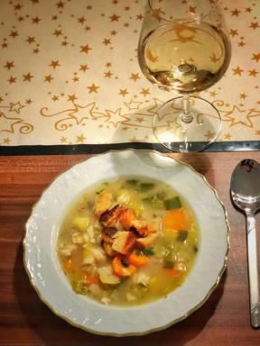 Fischsuppe mit Croûtons