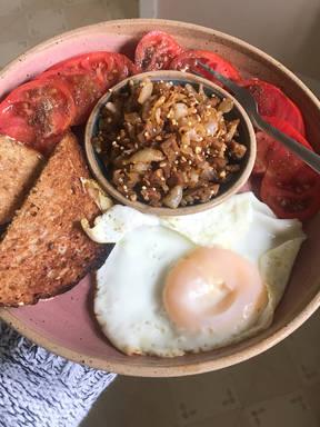 Soft Eggs w/Caramelized Onion & Seeds