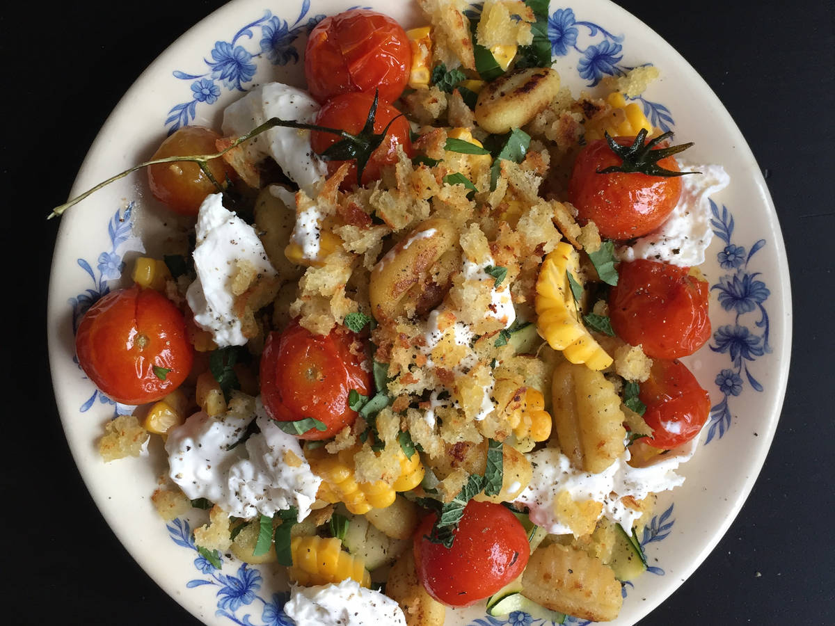 Gnocchi with grilled corn, zucchini, and burrata cheese