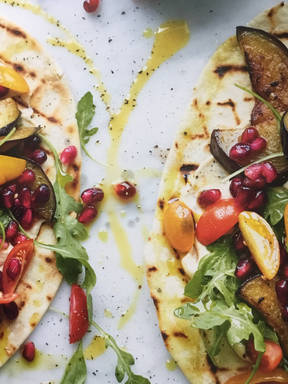 Fried Aubergine, Pomegranate and Hummus Flatbreads