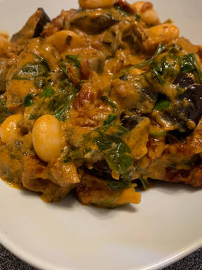 Roasted Aubergine & Butter Bean Stew