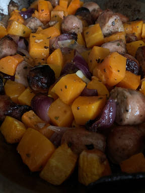 Sausages with Butternut Squash, Onion & Sage