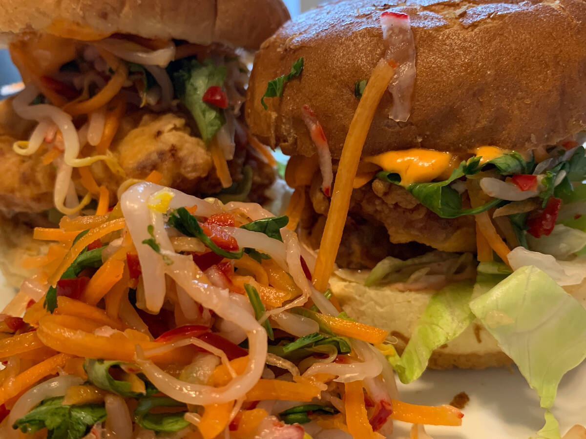 Korean Style Sour Chicken Burger with Asian Slaw