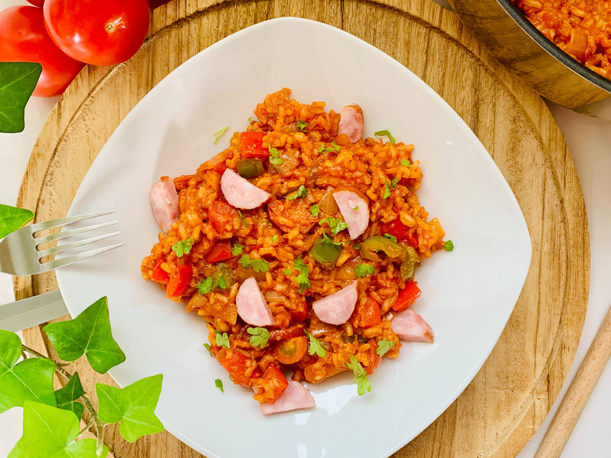 Sausage pepper and rice skillet