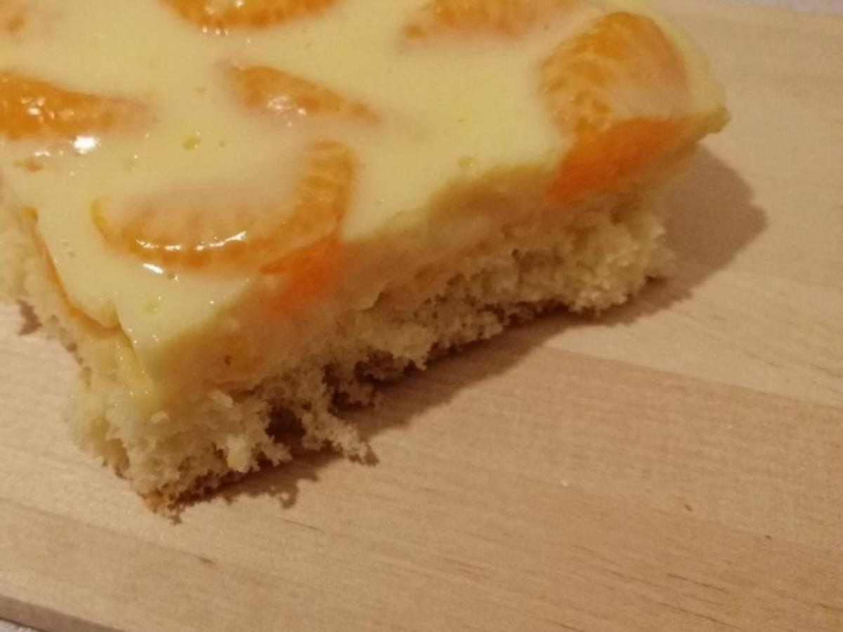 Schneller Mandarinen-Pudding Kuchen mit Bisquitboden