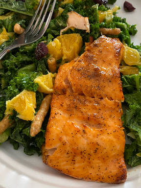 Ginger Maple Salmon with Citrus Kale Salad