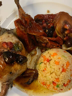 Gefüllte maurische Wachteln mit Gemüse-Couscous