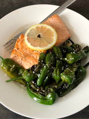 Salmon with Padrón peppers