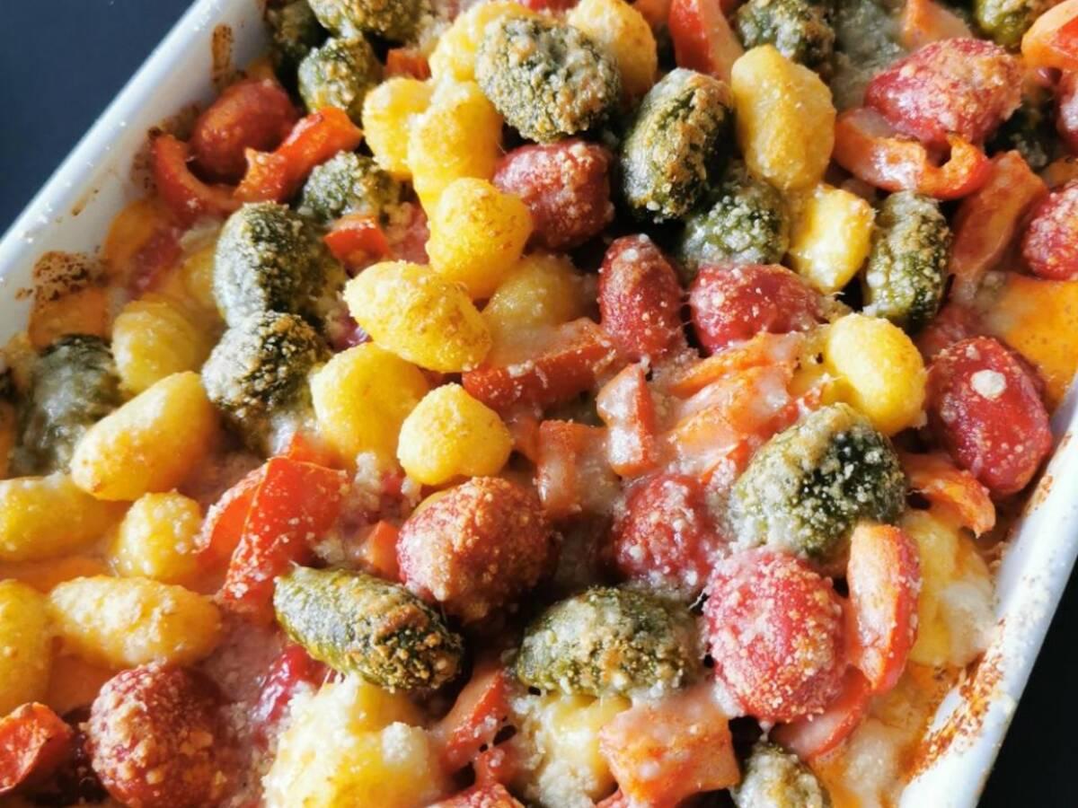 Gnocchi- Paprika- Hähnchen Auflauf