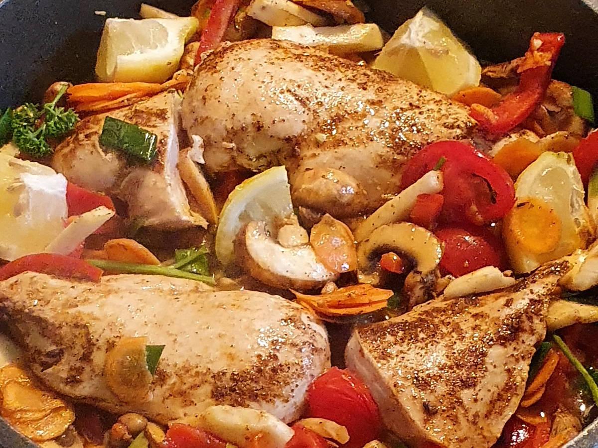 Gemüse Hähnchen fruchtig sauer