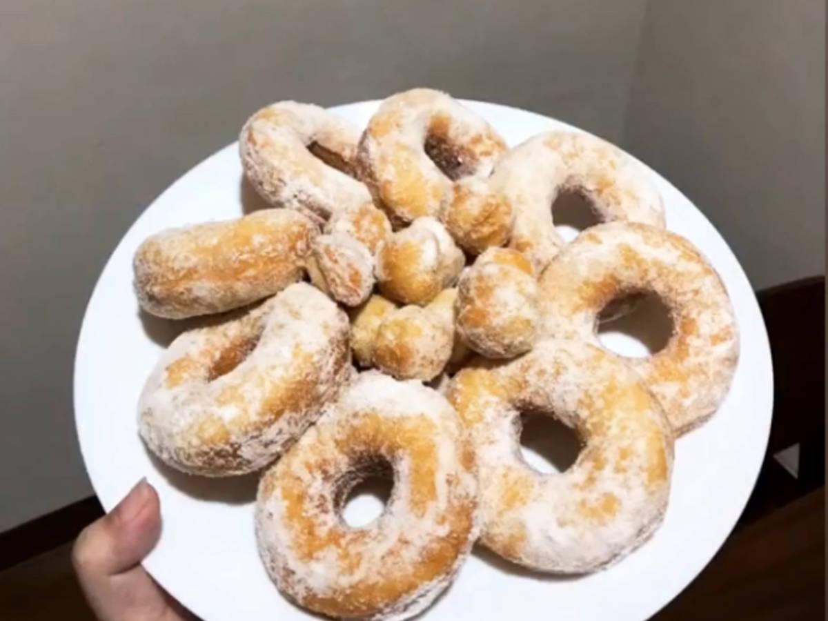 Snow sugar donut with potato
