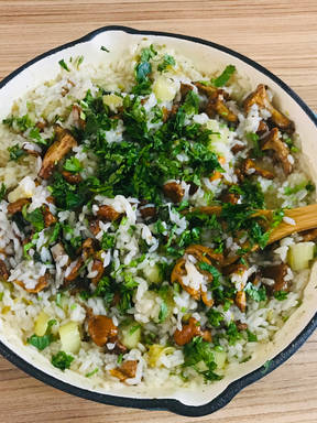 Rice with chanterelle and herbs