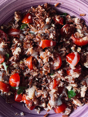 Red rice with tuna,tomato and yogurt