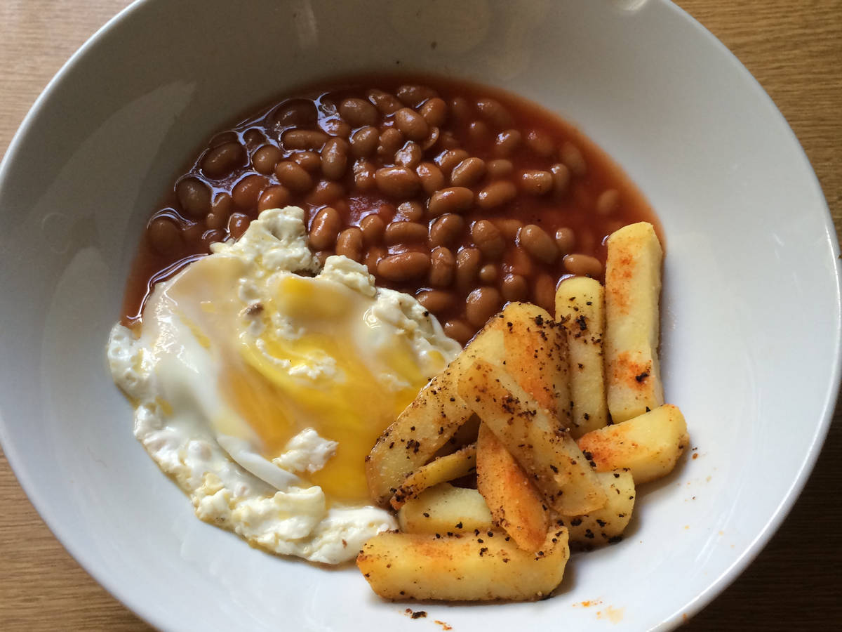 Classic eggs,beans and chips.