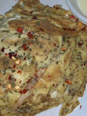 Spinach chicken omelette