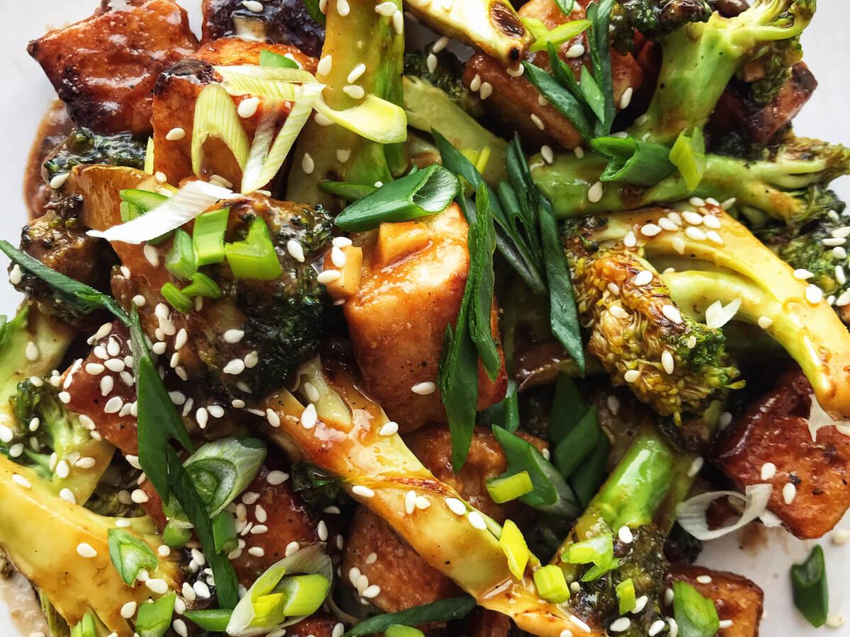 Sesame tofu with broccoli