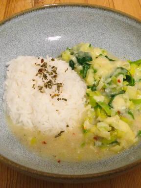 Überbackener Porree mit Reis