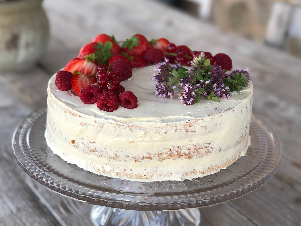 Strawberry Chiffon Cake with Russian Buttercream