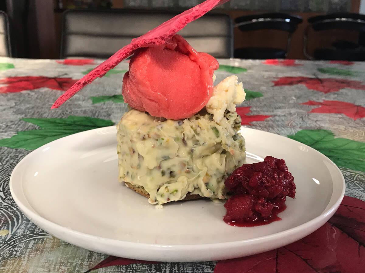Pistachio financier, mousse and raspberry meringue