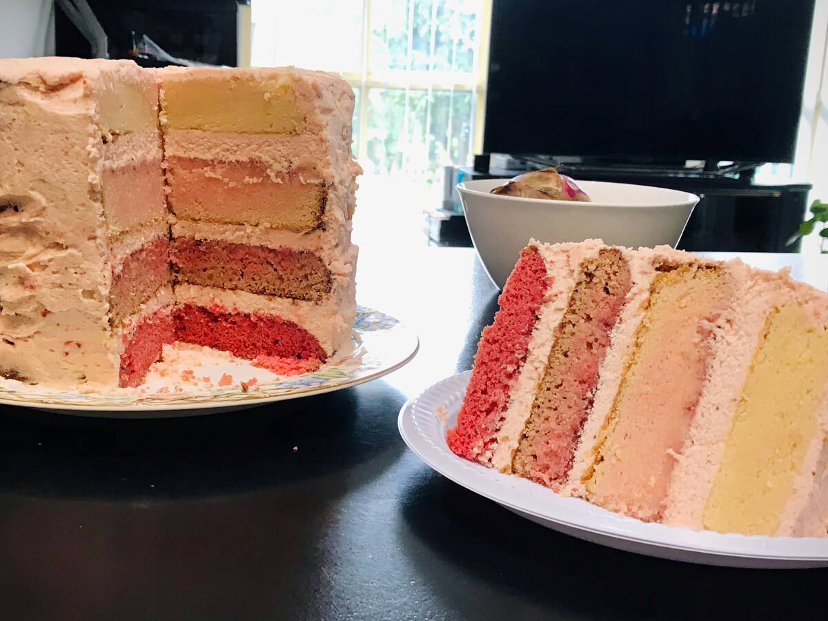 Ombré strawberry and white chocolate layer cake