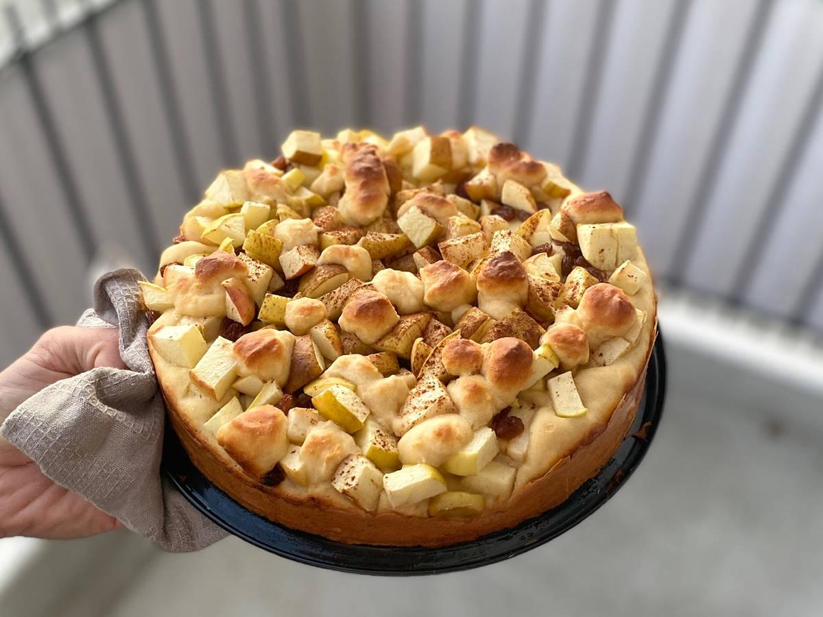 Saftiger Apfel-Quark-Kuchen ohne Zucker