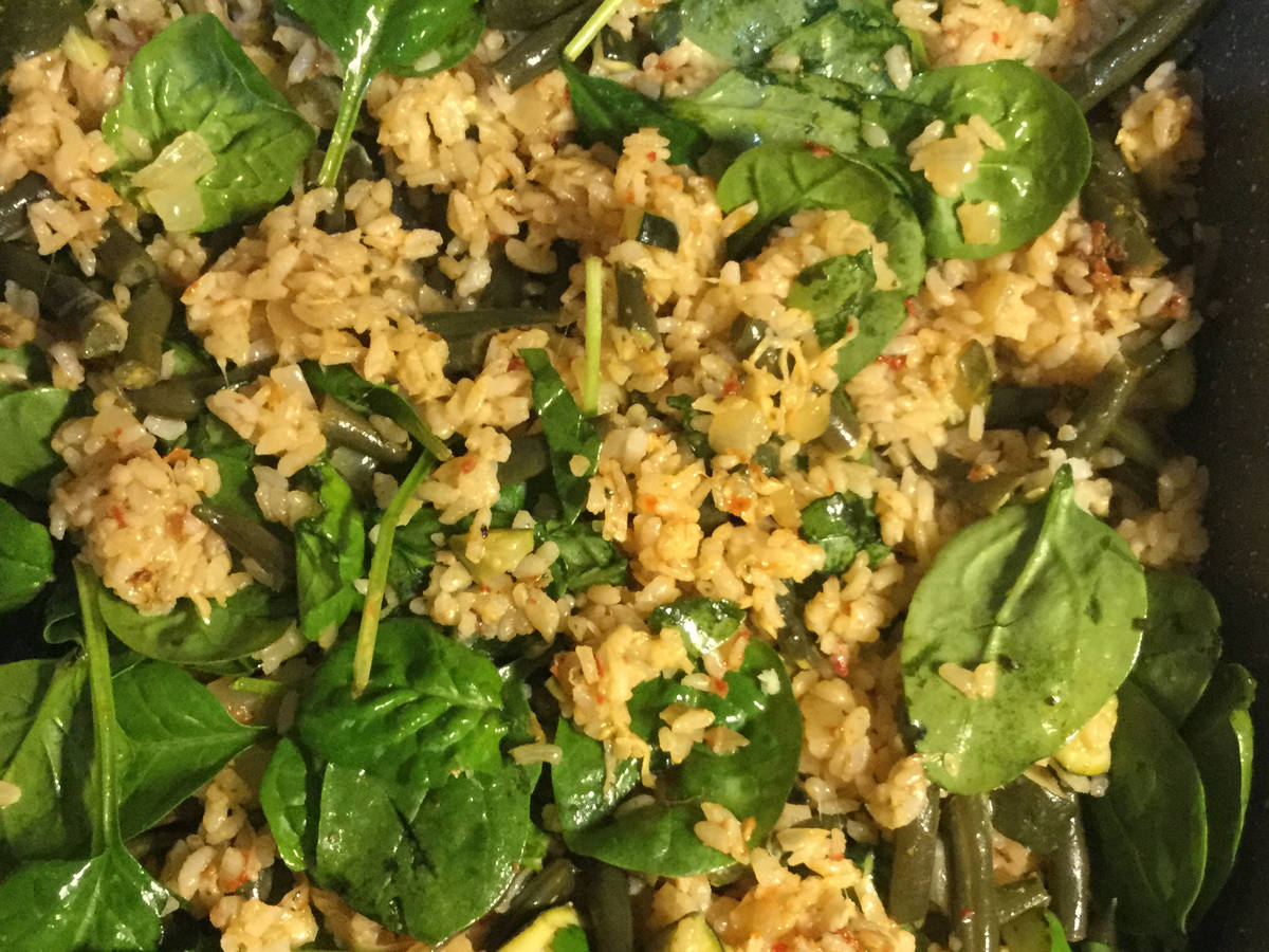 Oven baked pesto-risotto