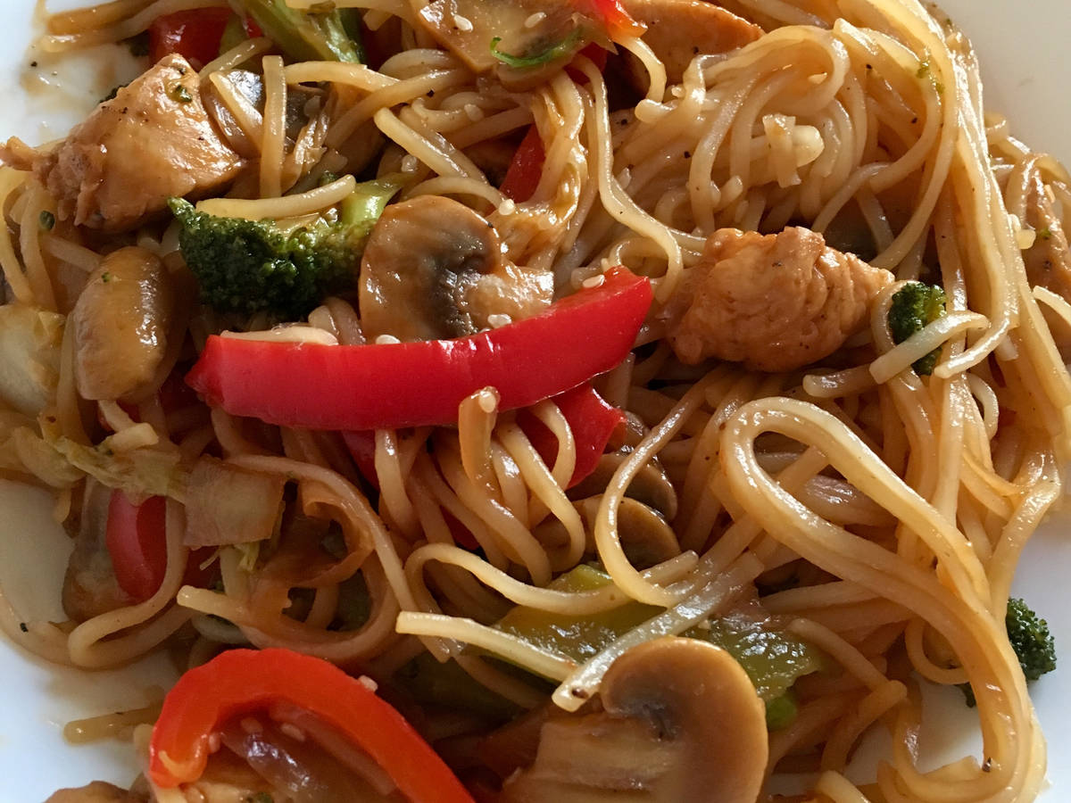 Chicken teriyaki and soy sauce stir fry