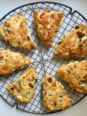 Scallion scones with bacon and goat cheese