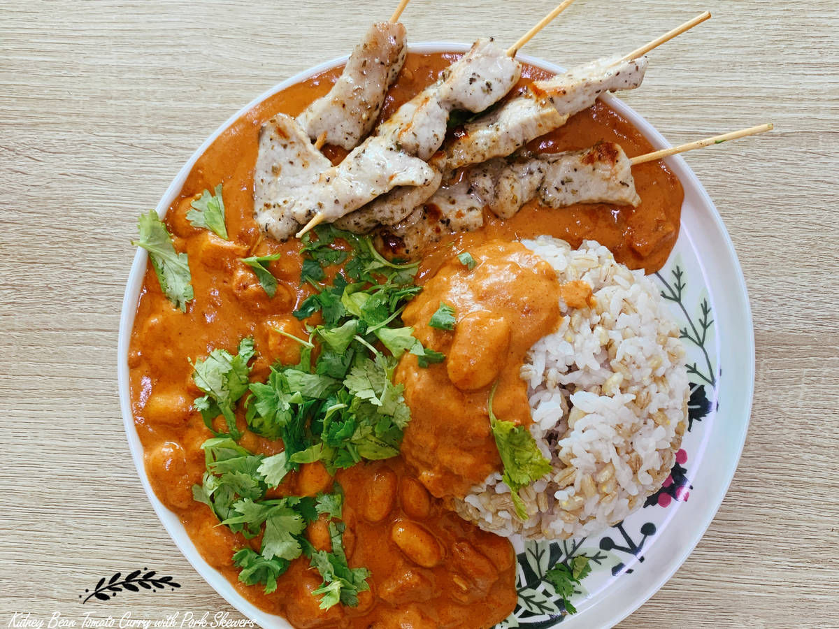 Tomato Butter Bean Curry with Pork Skewers