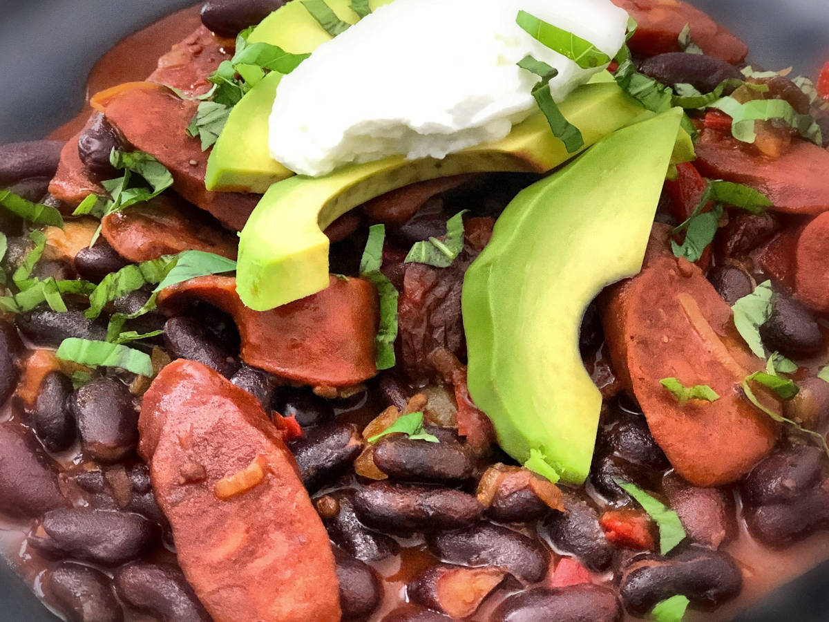 Spicy black beans with chorizo