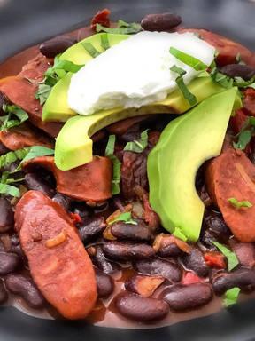 Spicy black beans with chorizo