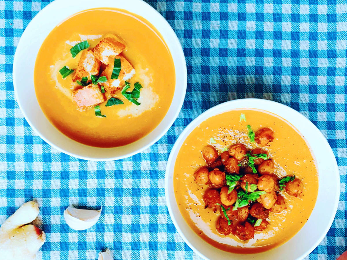 Silky butternut soup with spicy chickpeas and croutons